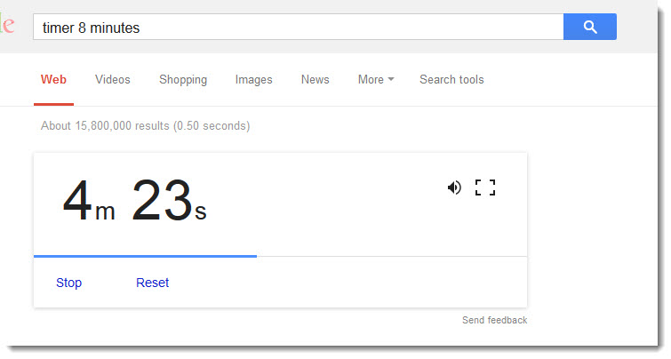 a timer in google search results