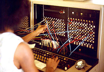 English: Large image of telephone switchboard....