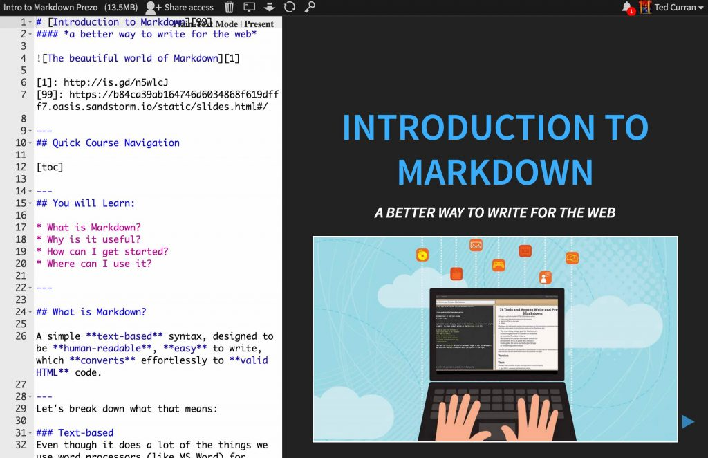 hackerslides screen, with markdown code on the left and a visual presentation on the right.