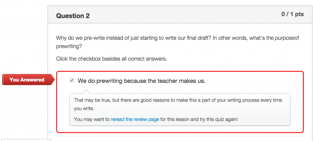 Quiz feedback can serve as a study guide, promoting review